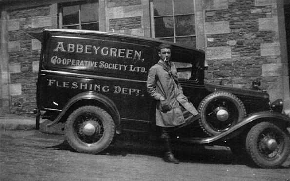 Abbeygreen Co-operative Society's Fleshing Department van with 'Tucker' Kelly