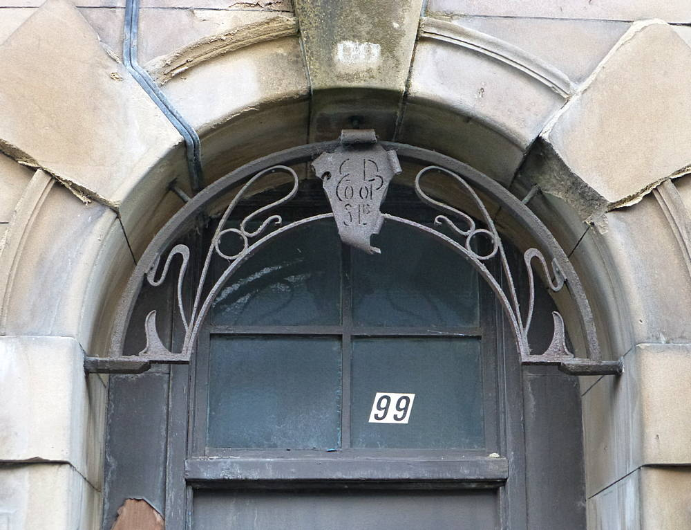 Remaining wrought iron above door in Lesmahagow