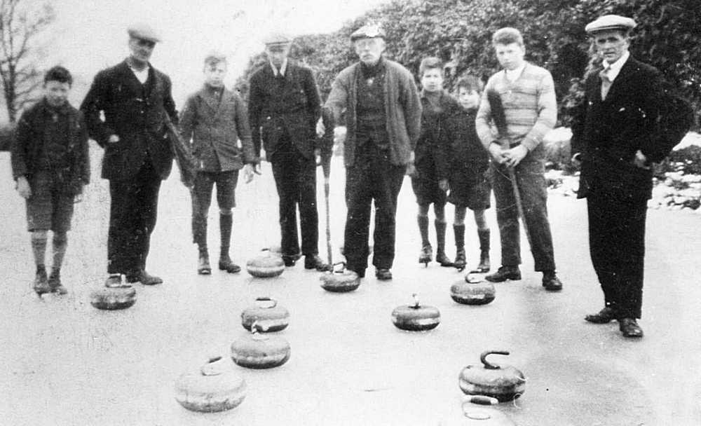 Curling at Blackwood Loch in the 1920s